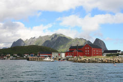 Reine's lofts  rorbu and  mounts Royalty Free Stock Image