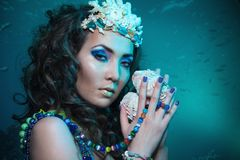 Reine sous-marine avec des trésors Image libre de droits