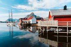 Reine Town in Norvegia fotografia stock libera da diritti