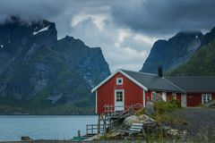 Reine village on Lofoten in early morning light stock photo