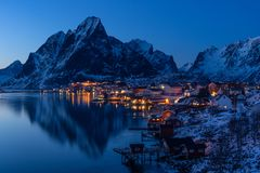Reine village at night, Lofoten archipelago, Norway, Scandinavia. Europe Stock Image