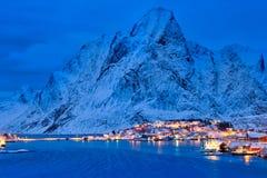 Reine village at night. Lofoten islands, Norway stock photos