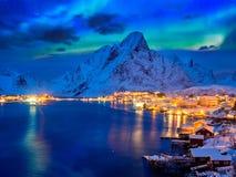 Reine village at night. Lofoten islands, Norway royalty free stock images
