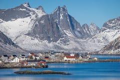 Reine village in winter season, Lofoten archipelago, Norway, Scandinavia. Europe stock photo
