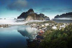 Reine wioska, Lofoten wyspy, Norwegia Zdjęcia Royalty Free