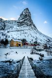 Reine Wooden Bridge on the Lofoten Islands stock images