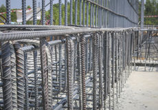 Reinforce iron cage in a construction site Stock Photo