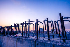 Reinforce iron cage in a construction site Stock Images