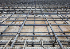 Reinforce iron cage net for built buiilding floor in constructio Royalty Free Stock Images