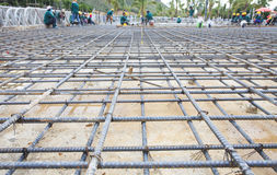 Reinforce iron cage net for built building floor in construction Royalty Free Stock Photography