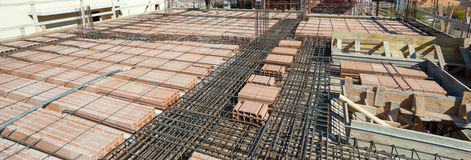 Reinforce iron cage net for built building floor. Stock Photos