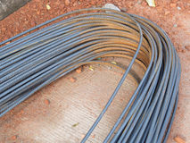 Reinforce steel rod. On consturction site stock image