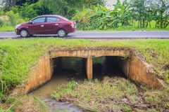 Free Reinforced Concrete Box Culverts Under The Asphalt Road. Box Culvert Is A Structure That Allows Water To Flow Under Stock Image - 100220741