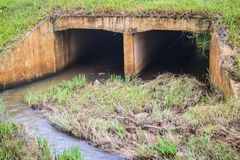Free Reinforced Concrete Box Culverts Under The Asphalt Road. Box Culvert Is A Structure That Allows Water To Flow Under Stock Photos - 100221543