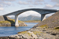 Reinforced concrete bridge. Over mountain river in Norway royalty free stock images
