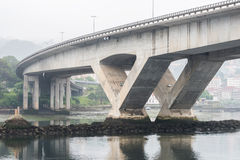 Reinforced concrete bridge over the river. Image of reinforced concrete bridge over the river Royalty Free Stock Image