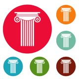 Reinforced concrete column icons circle set vector Royalty Free Stock Photography