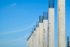 Reinforced concrete column structure in construction site with blue sky Stock Photography
