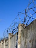 Reinforced concrete fence barbed wire fencing protection zone prohibited Royalty Free Stock Photos