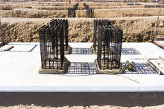 Reinforced concrete foundation Stock Images