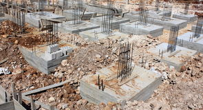 Reinforced Concrete Foundations. Reinforced Concrete footings in a site of under construction building royalty free stock images