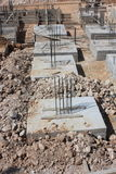 Reinforced Concrete Foundations. Rows and columns of Reinforced Concrete Foundations in a site of under construction building royalty free stock photo