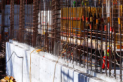 Reinforced concrete gets it's tensile strength from steel bars. Cast within the concrete Stock Photo