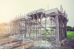 Reinforced concrete for new home construction. royalty free stock images