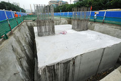 Reinforced concrete pile caps Stock Images