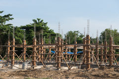 Reinforced concrete piles of the new building Stock Photography