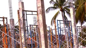 Reinforced concrete pillars on house under stock footage