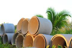 Reinforced concrete pipe Stock Image