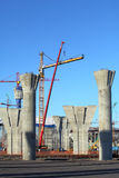 Reinforced concrete poles of the bridge being constructed. Royalty Free Stock Photos
