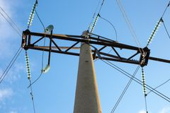 Reinforced concrete power transmission tower stock photo