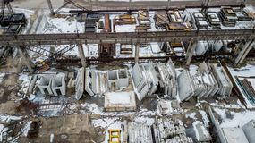 Reinforced concrete structures in an industrial enterprise. Aerial survey royalty free stock photography
