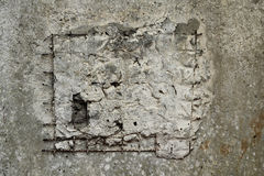 Reinforced concrete wall with embedded hole  background Royalty Free Stock Photo