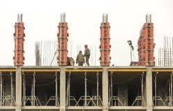 reinforced concrete wall of a multi-storey building in the process of construction. royalty free stock photo