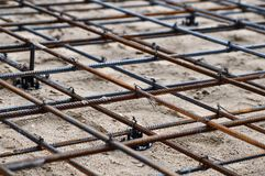 Reinforced Foundation for pouring concrete in the construction of a house on a plot of land.  stock image
