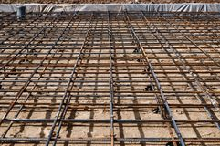Reinforced Foundation for pouring concrete in the construction of a house on a plot of land.  stock images
