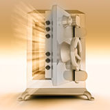 Reinforced gold metal open bank vault. Heavy reinforced gold metallic opened bank vault render illustration Royalty Free Stock Images