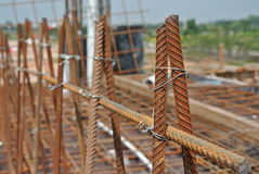 Reinforcement bar fabricated and tied using wire at construction site Stock Photography