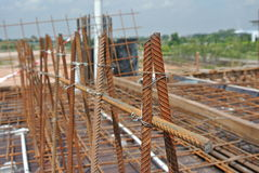 Reinforcement bar fabricated and tied using wire at construction site Stock Photos