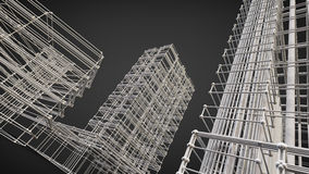 Reinforcement buildings construction structural absctract. Structural absctract buildings construction  on dark background. housing reinforcement. wide angle Stock Photography