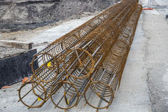 Reinforcement cages for a foundation piles Royalty Free Stock Photos