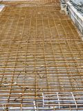 Reinforcement mesh for new tramway track build Stock Photo