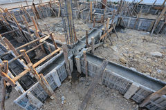 Reinforcement metal framework for concrete pouring Royalty Free Stock Images