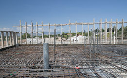 Reinforcement metal framework and electricity wire Stock Photography