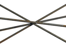 Reinforcement steel bars lying crosswise isolated Royalty Free Stock Image