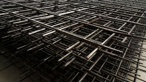 Reinforcement steel mesh background. Steel bar framework, in the construction site Royalty Free Stock Image