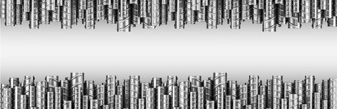 Reinforcements steel bars in dual row. Industrial background. Bu. Ilding armature. 3d illustration isolated on white Royalty Free Stock Photos